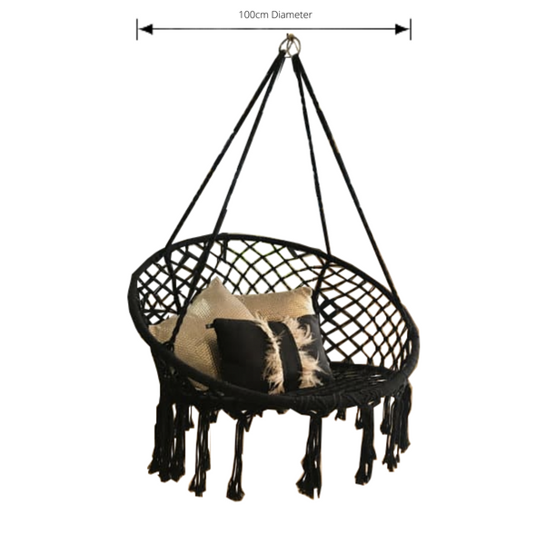 Macrame Hanging chair. Made from woven black cotton, pictured with dimensions