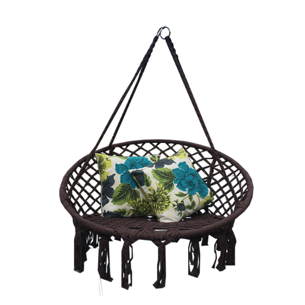 Macrame Hanging chair. Made from woven coffee coloured  cotton,