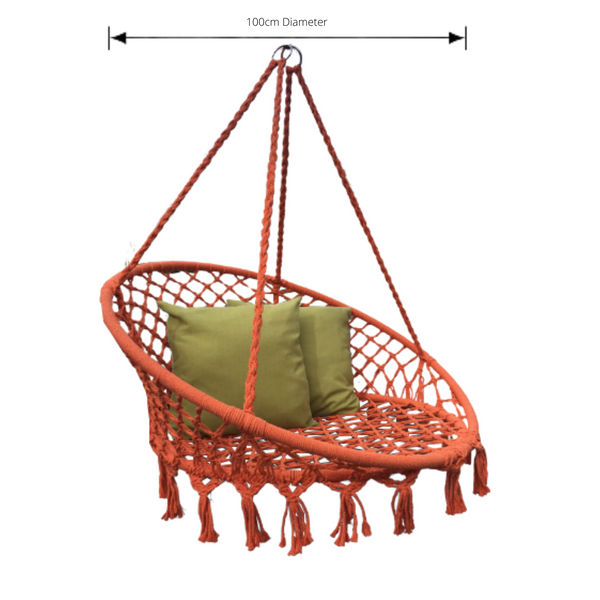 Macrame Hanging chair. Made from woven orange cotton, pictured with dimensions
