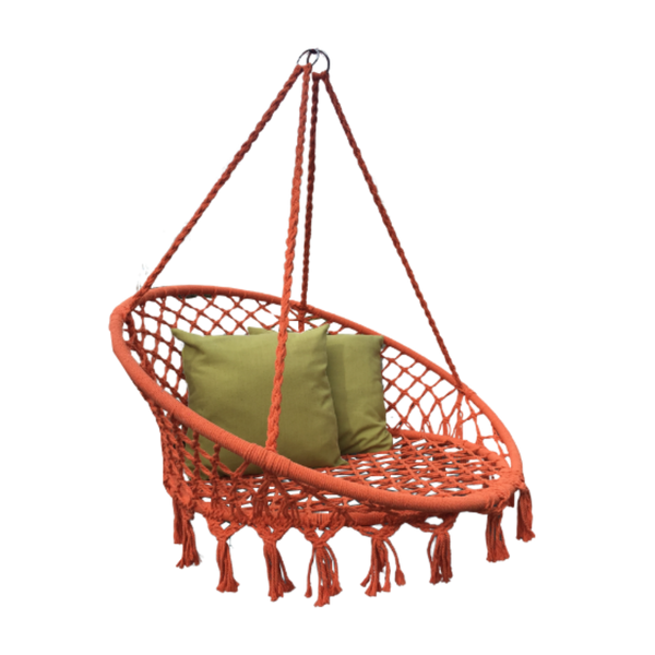Macrame Hanging chair. Made from woven orange  cotton,