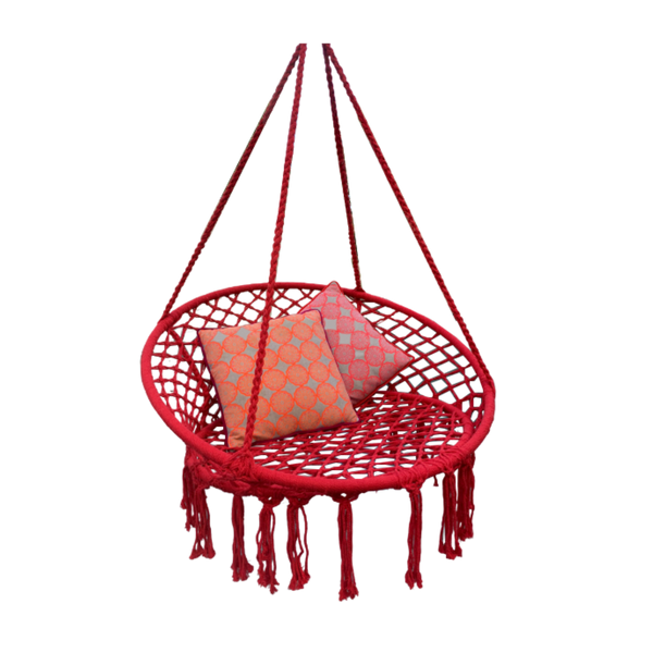 Macrame Hanging chair. Made from woven raspberry coloured  cotton,