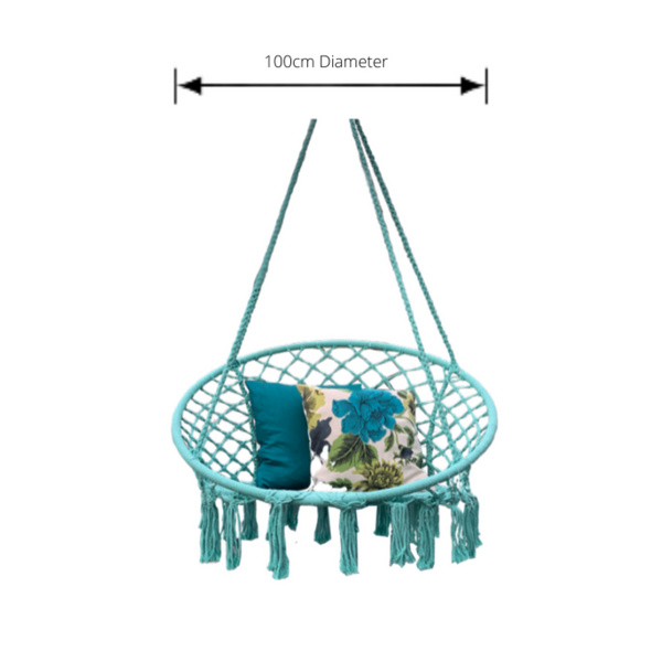 Macrame Hanging chair. Made from woven spearmint coloured  cotton, pictured with dimensions