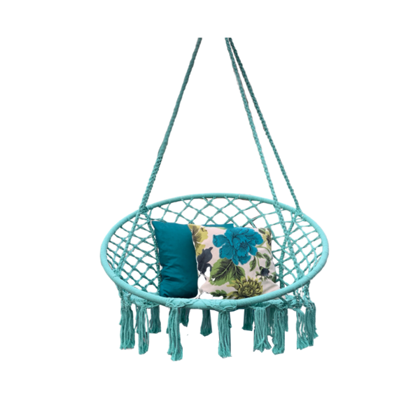 Macrame Hanging chair. Made from woven spearmint coloured  cotton,