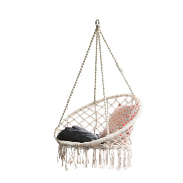 Macrame Hanging chair. Made from woven white cotton,