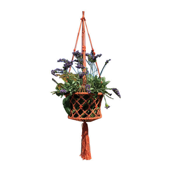 macrame pot plant hanger in orange
