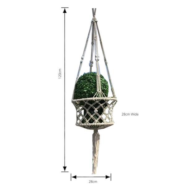 macrame pot plant hanger in white/ cream with dimensions