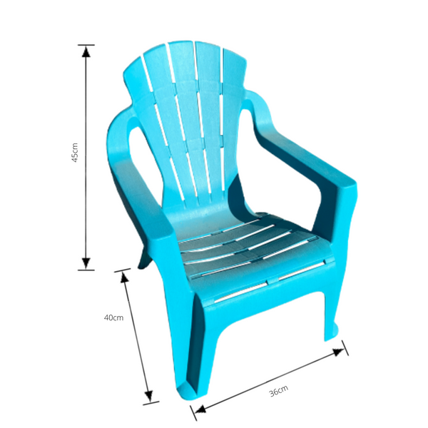 Replica adirondack kids chair, made from PU/Plastic in aqua with dimensions