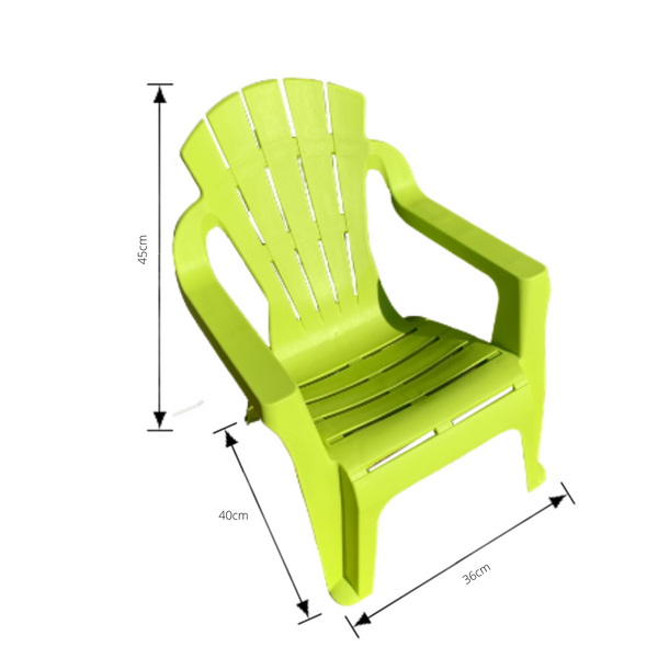 Replica adirondack kids chair, made from PU/Plastic in lime with dimensions