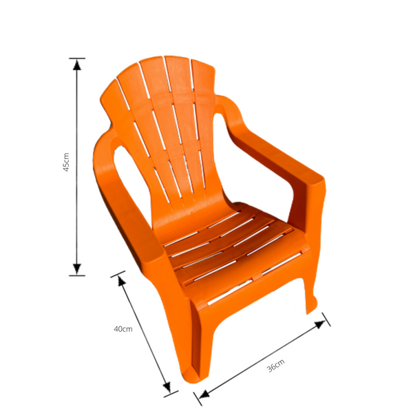 Replica adirondack kids chair, made from PU/Plastic in orange with dimensions