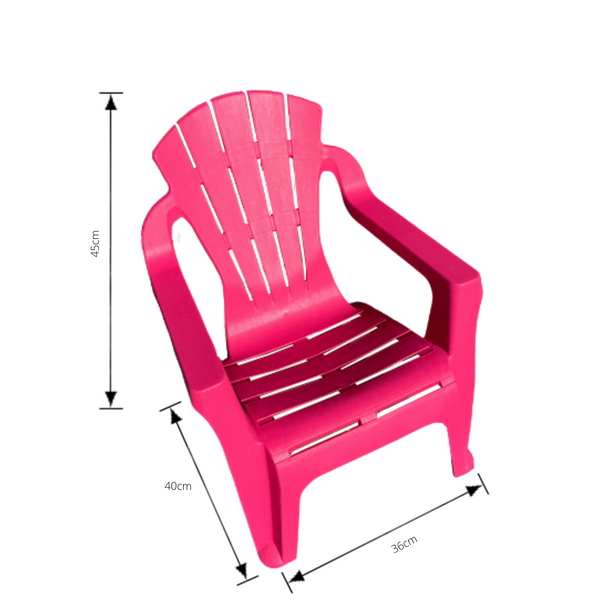 Replica adirondack kids chair, made from PU/Plastic in pink with dimensions