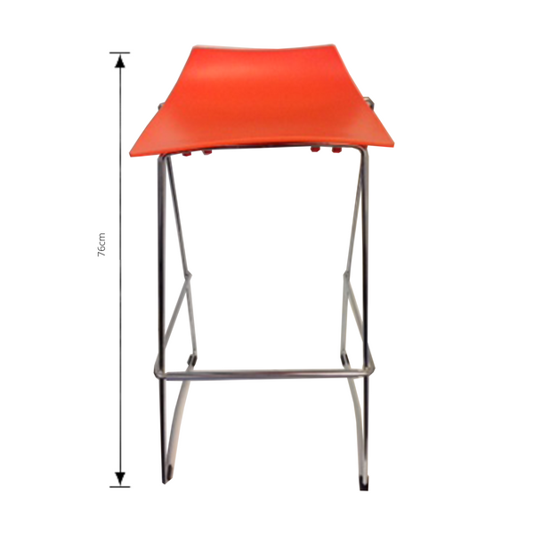 Jacob bar stool in orange with measurements