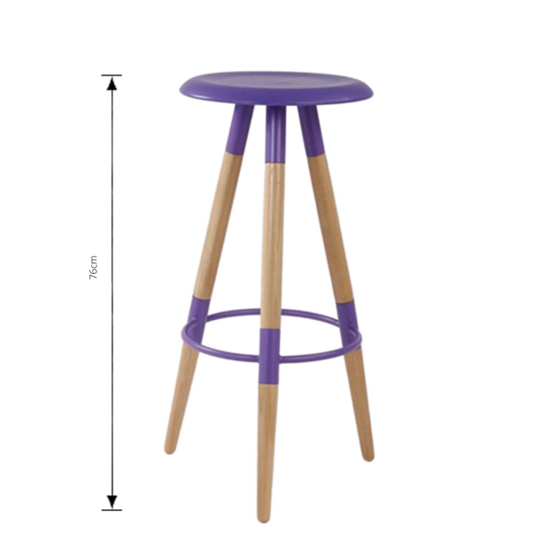 Bar Stool - UFO in purple with measurements