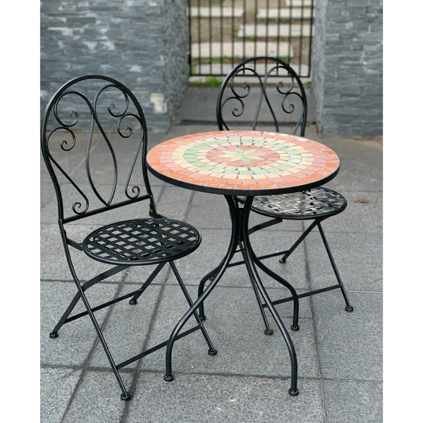 Patio Setting - Mosaic Capri, Metal 3 Piece Outdoor Setting in the garden