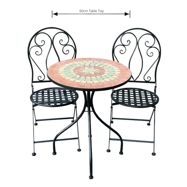 Patio Setting - Mosaic Capri, Metal 3 Piece Outdoor Setting with dimensions