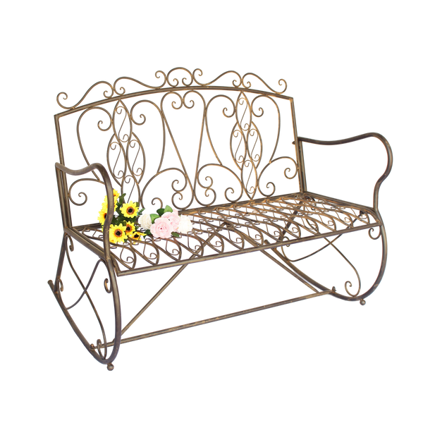 Garden Bench Metal Steel Rocker Seat Charleston Vintage Porch Park Garden Furniture 112x88x95cm