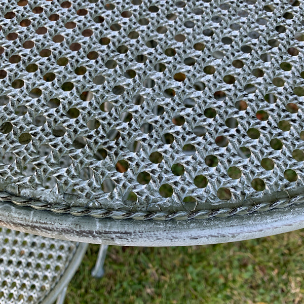 Patio Setting - Chloe, Verdi, Metal 3 Piece Garden Setting up close of table top detail