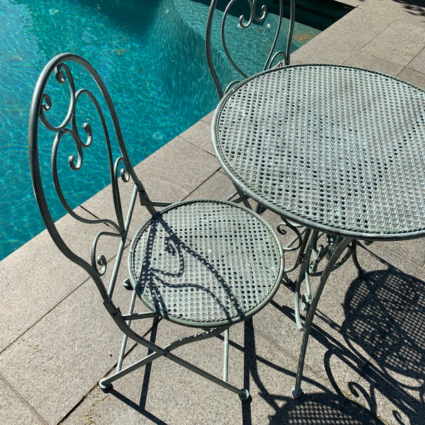 Patio Setting - Chloe, Verdi, Metal 3 Piece Garden Setting next to a pool
