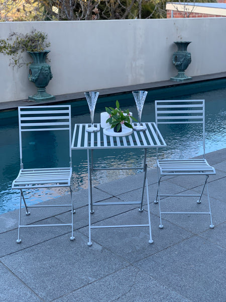 Patio Setting Clara Square Grey 3 Piece Bistro Balcony Pool Deck Metal Steel Garden Furniture Outdoor