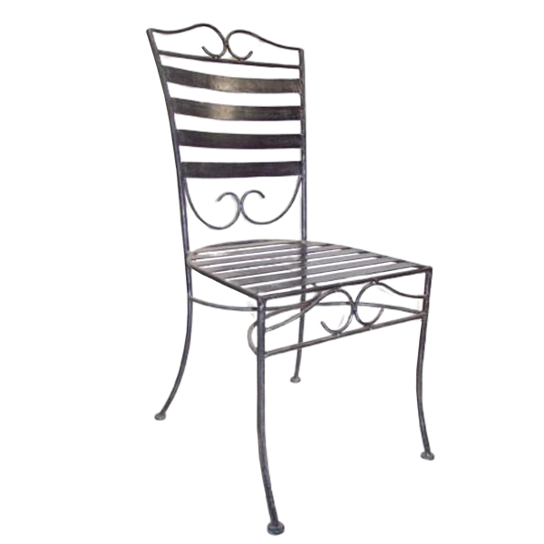 Set of 6 Chairs Solid Wrought Iron Standard Dinner Outdoor Weatherproof Garden Dining