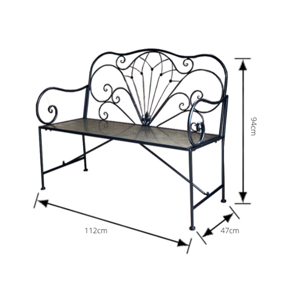 Outdoor Derby bench seat in black, made from metal with dimensions