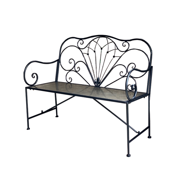 Outdoor Derby bench seat for garden, made from metal, in black finish
