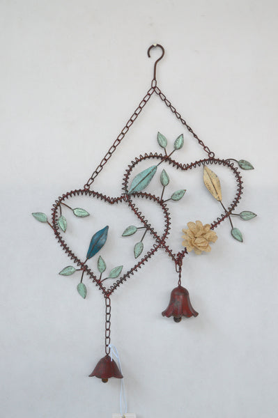 Bell Hanging Hearts Wind Metal Garden Outdoor Decor 40X6X57cm