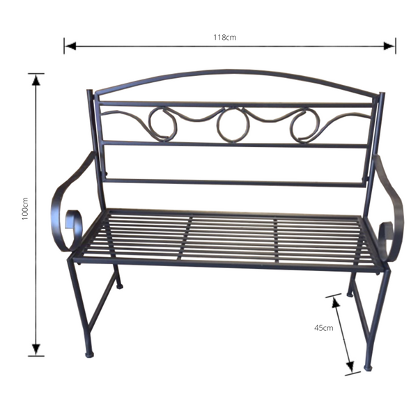 Outdoor Black metal Eden garden bench  with dimensions