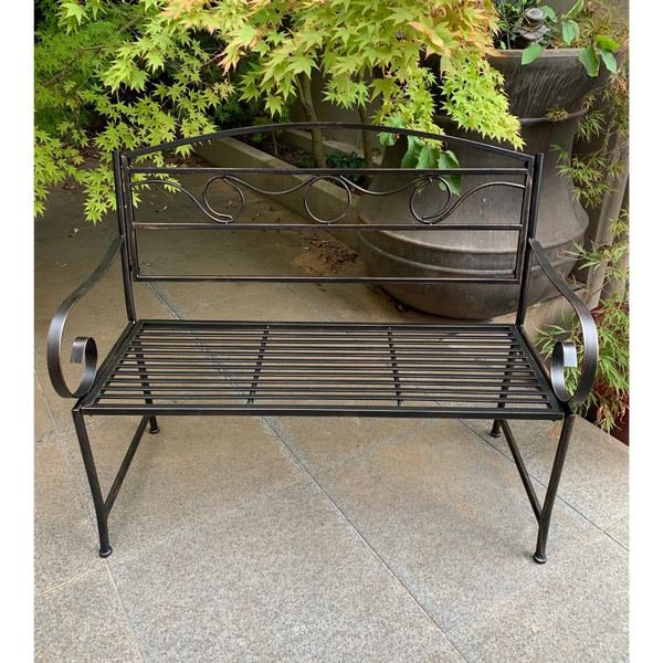 Outdoor Eden garden bench, bronze coloured finish made from metal