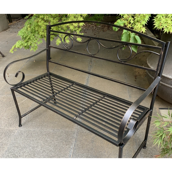 Outdoor Eden garden bench, Bronze /black finish, made from metal