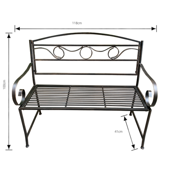 Outdoor Bronze/Black metal Eden garden bench with dimensions