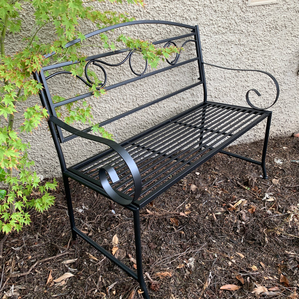 Outdoor Black metal Eden garden bench  in garden setting