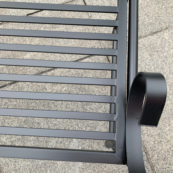 Outdoor Black metal Eden garden bench  close up of seat