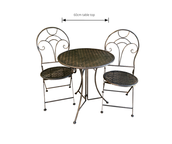 Patio Setting - Gatsby Bronzed Black 3 Piece Metal Garden Setting with dimensions
