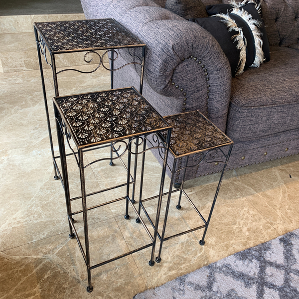 Set of 3, Metal Side Tables, Gatsby - Bronzed Black inside near a couch