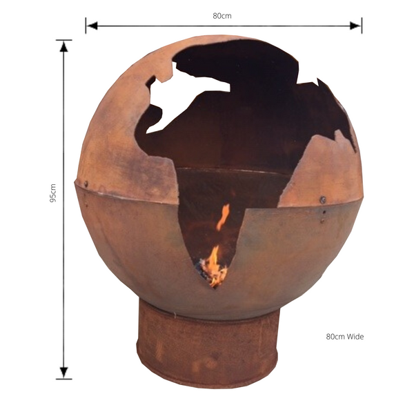 Free Standing Outdoor Globe Fire Ball Pit, Corten look Carbon Steel