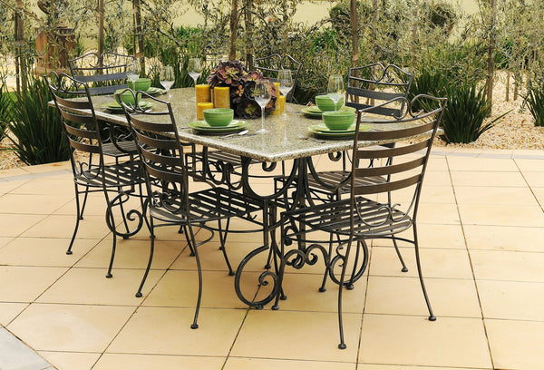OUTDOOR DINING SETTING- 2.1m Green Granite Table with 6 Dinner Chairs