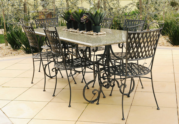 OUTDOOR DINING SETTING- 1.8m Green Granite Table with 6 Oxford Chairs