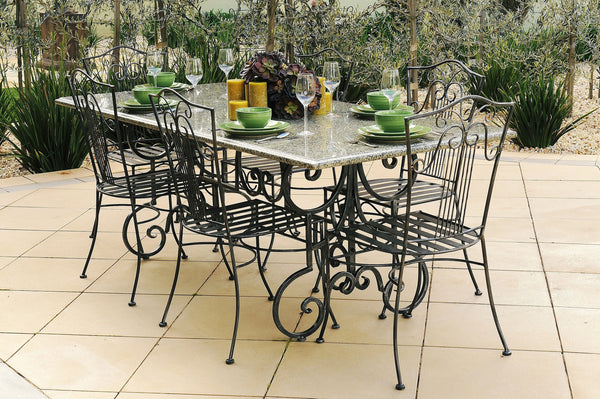 OUTDOOR DINING SETTING- 1.8m Green Granite Table with 6 Sophie Chairs