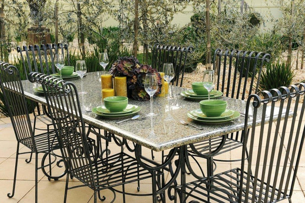 OUTDOOR DINING SETTING- 1.8m Green Granite Table with 6 Emily Chairs
