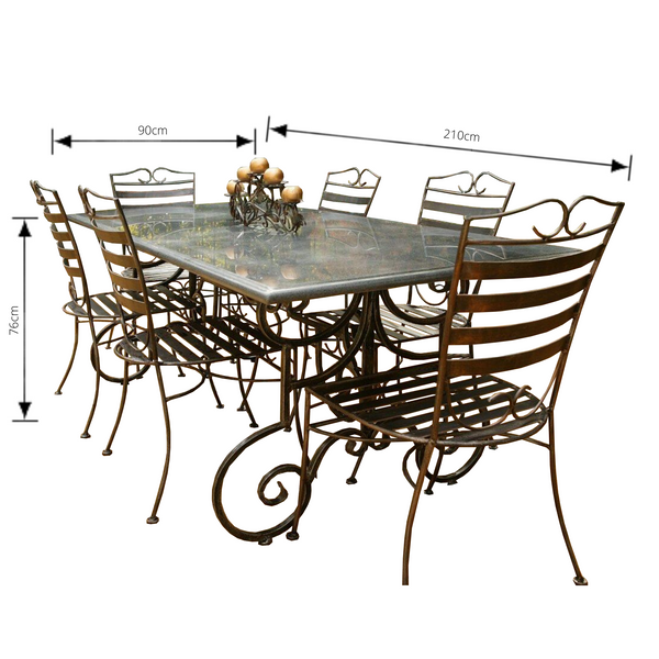 Outdoor Dining setting made from natural stone- Granite, 6 wrought iron chairs and solid iron table base. Pictured with dimensions