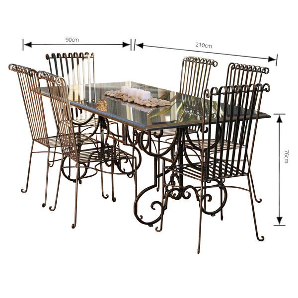 Outdoor Dining setting made from natural stone- Granite, 6 wrought iron dining chairs- Emily style and solid iron table base. Pictured with dimensions