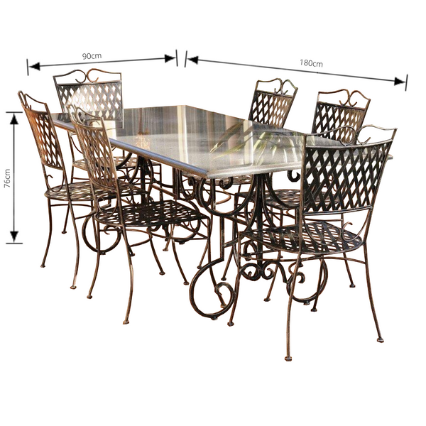 Outdoor Dining setting made from natural stone- Granite, 6 wrought iron dining chairs- Oxford style and solid iron table base. Pictured with dimensions