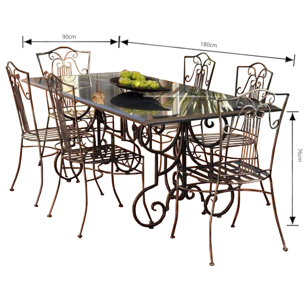 Outdoor Dining setting made from natural stone- Granite, 6 wrought iron dining chairs- Sophie style and solid iron table base. Pictured with dimensions