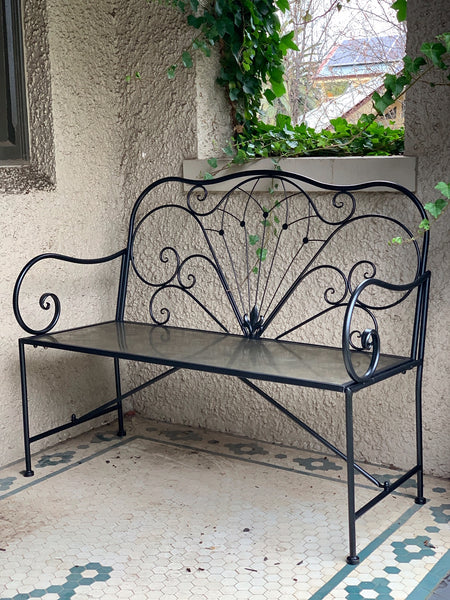 Beautiful Derby outdoor bench seat in metal with a black finish