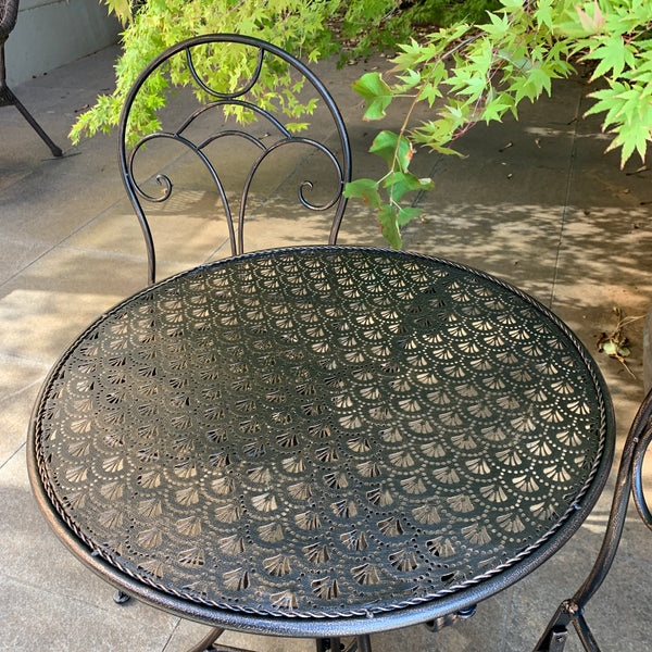Patio Setting - Gatsby Bronzed Black 3 Piece Metal Garden Setting in the garden top view of table