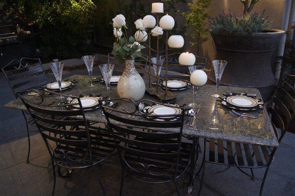 OUTDOOR DINING SETTING- 1.8m Green Granite Table with 6 Dinner Chairs