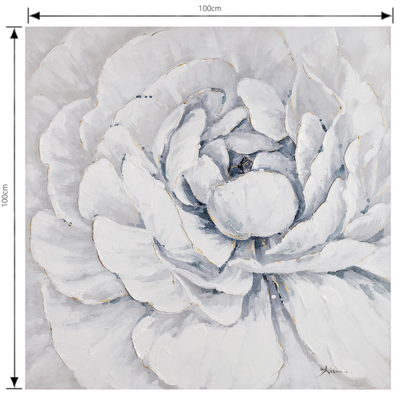 Painting Full Bloom Print Artwork Stretched Wood Frame with dimensions