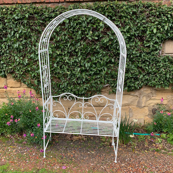 Garden Arch with Bench Seat Rustic Cream