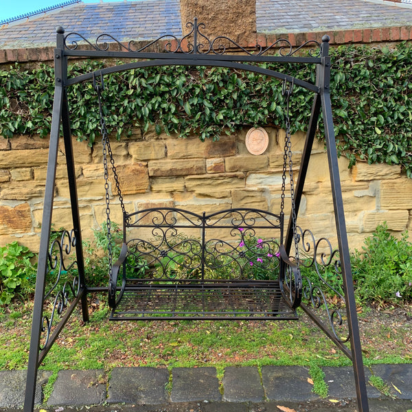 Garden Swing Bench Celine Metal Rustic Brown