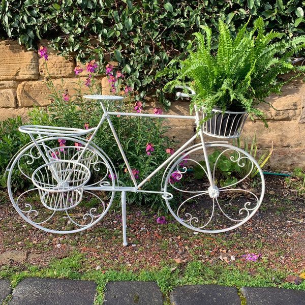 Bicycle Plant Stand Display Antique Cream